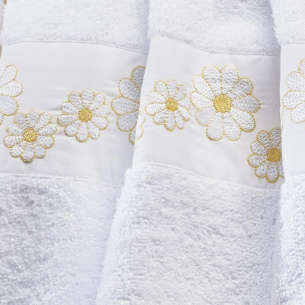 Jogo de Toalhas (Banho e Rosto) Super Grande Coleção Nuance Branco e Amarelo Algodão 200 Fios com 5 peças