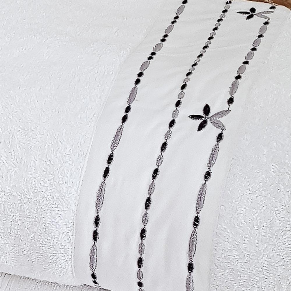 Jogo de Toalhas (Banho e Rosto) Super Grande Coleção Piemom Branco e Prata Shantung com 5 peças
