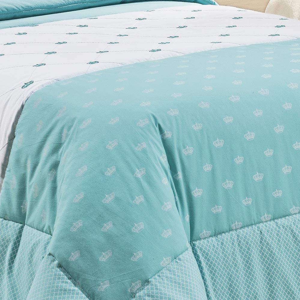 Kit Cama (Colcha + Almofada) Solteiro Kit Cloe Verde Tiffany Algodão 200 Fios com 4 peças