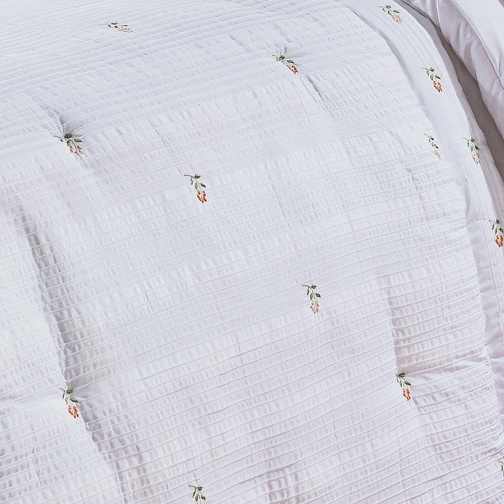 Kit Casal (Colcha + Almofada) Super King Coleção Coral Branco bordado rosas Algodão 200 Fios com 5 peças