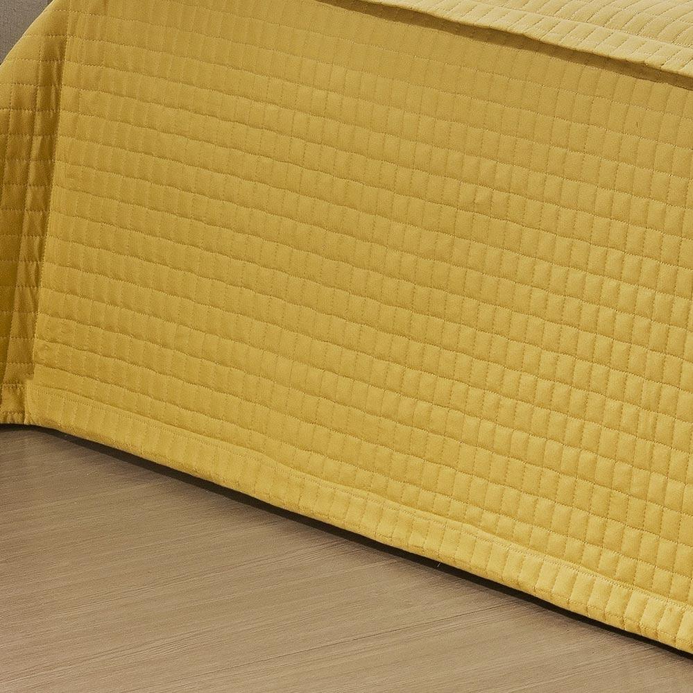 Kit Casal (Colcha + Almofada + Xale) Super King Coleção Veneza Amarelo Microfibra com 6 peças