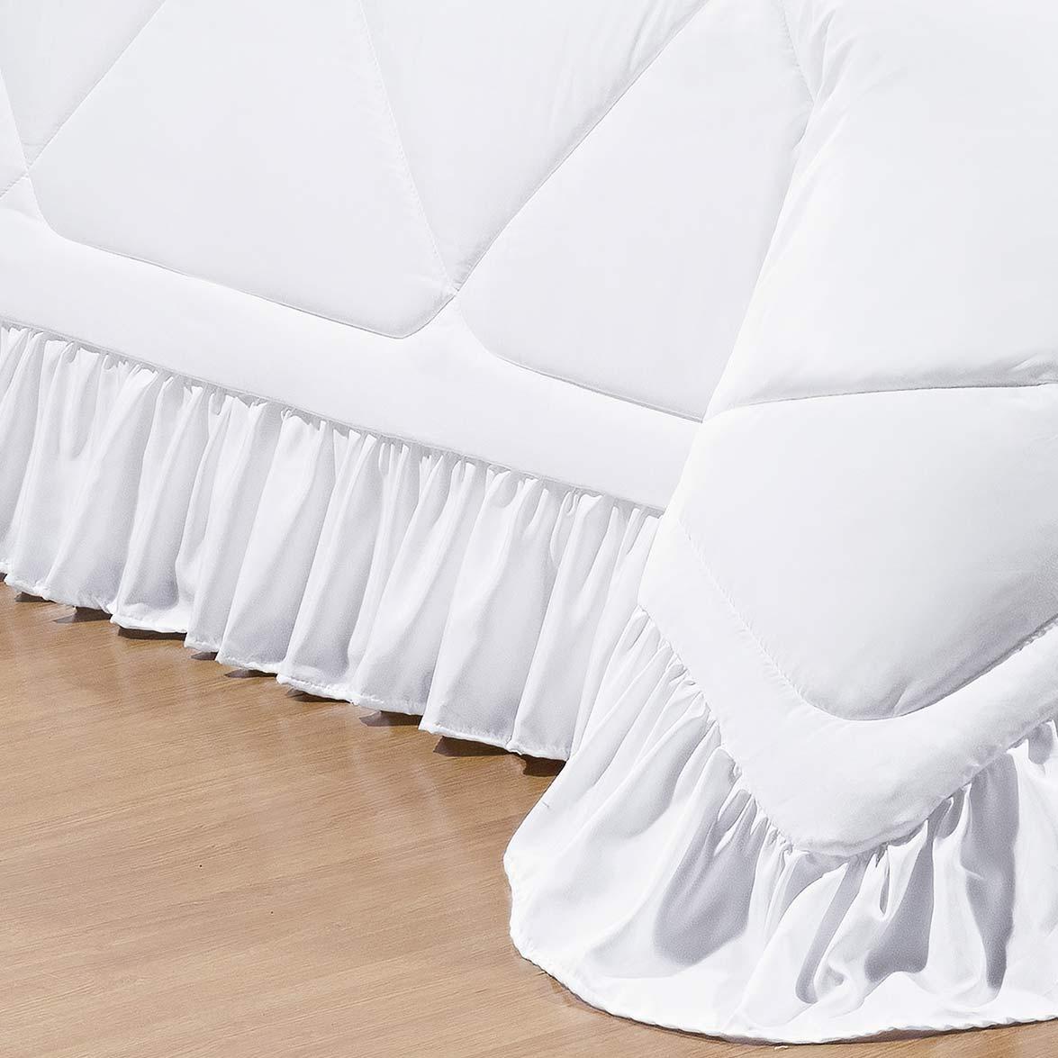 Kit Cobre Leito + Almofada Casal Colonial Branco em Poliéster com 7 peça