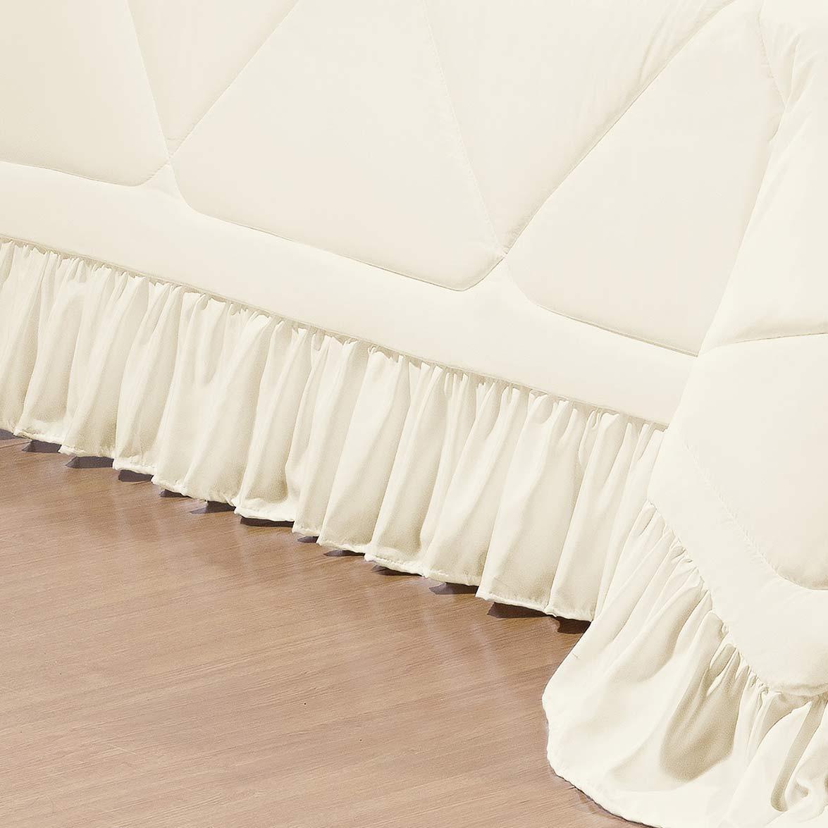 Kit Cobre Leito + Almofada Casal Colonial Palha em Poliéster com 7 peça