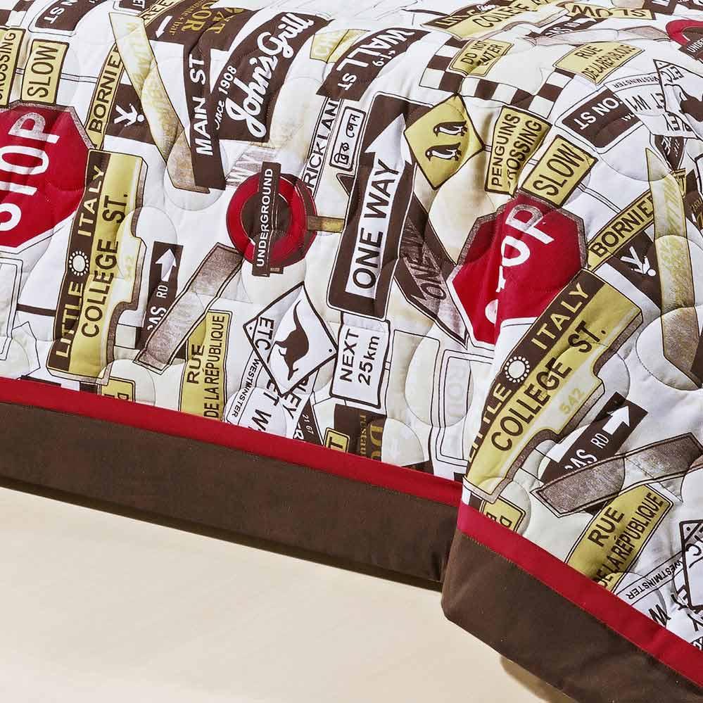 Kit Cobre leito + Almofada Solteiro Cairo Vermelho em Algodão e Poliéster com 5 peça