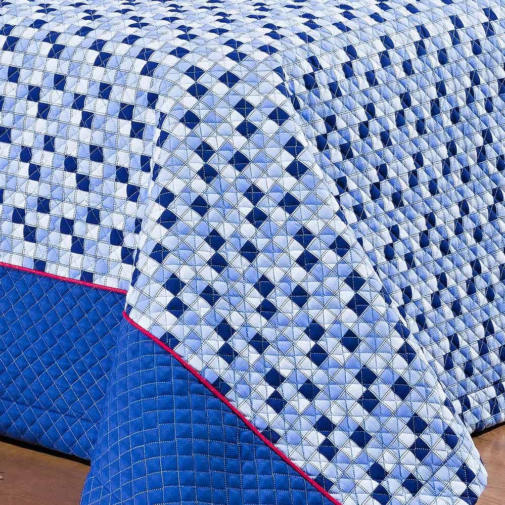 Kit Cobre leito + Almofada Solteiro Frontier Azul em Algodão e Poliéster com 4 peça