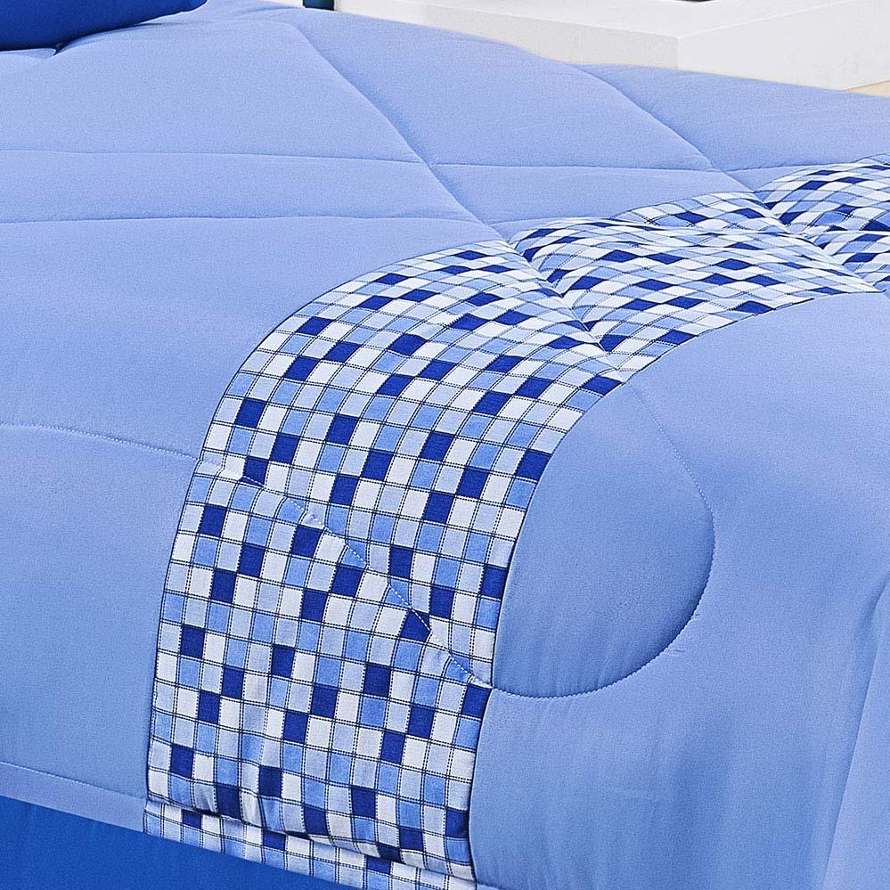 Kit Cobre leito + Boneca Solteiro Mimo Azul em Algodão e Poliéster com 3 peça