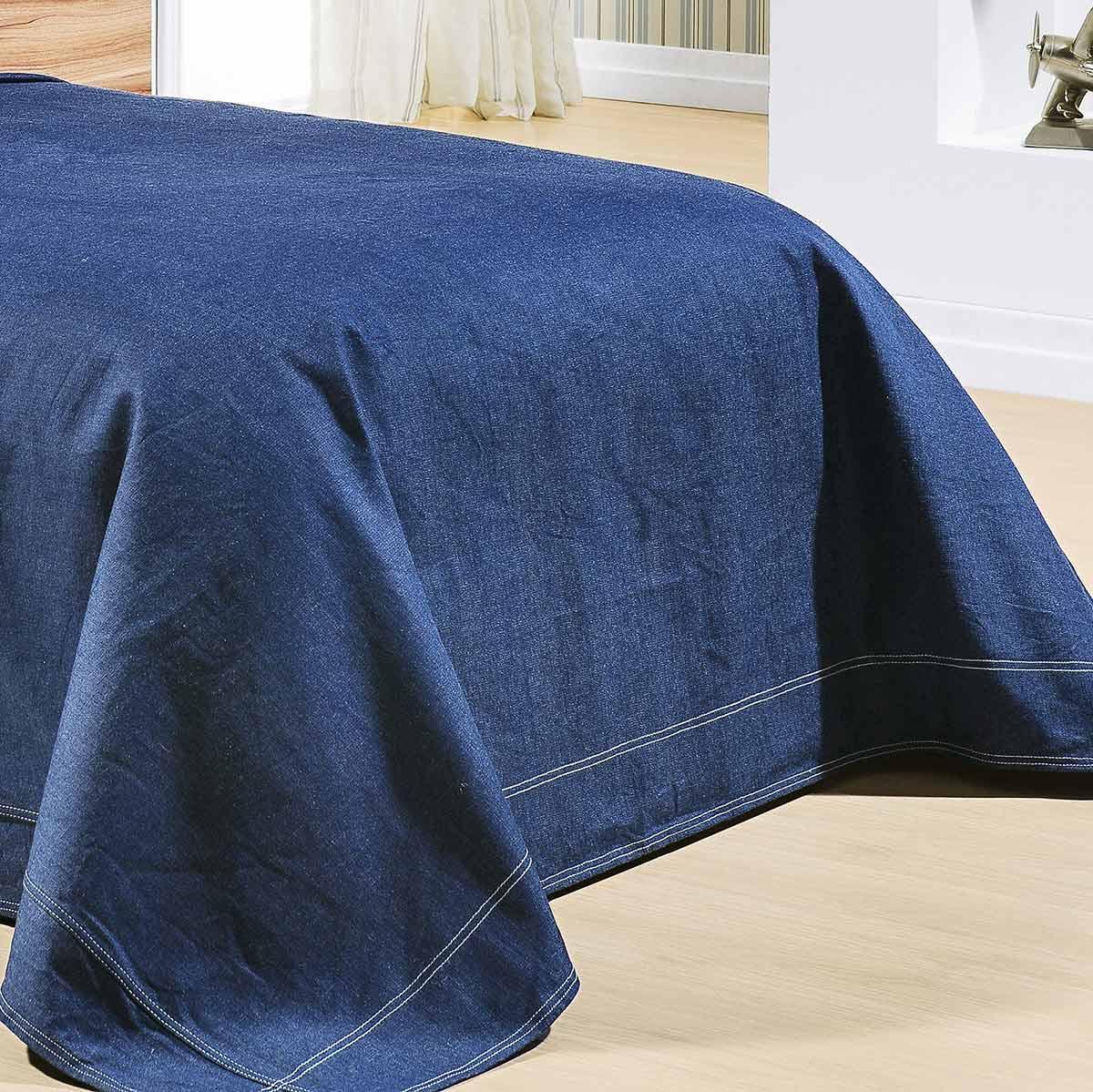 Kit Cobre Leito (Cobre Leito + Lençol + Porta Travesseiro) Solteiro Kit Indigo Jeans Liso com 8 peças