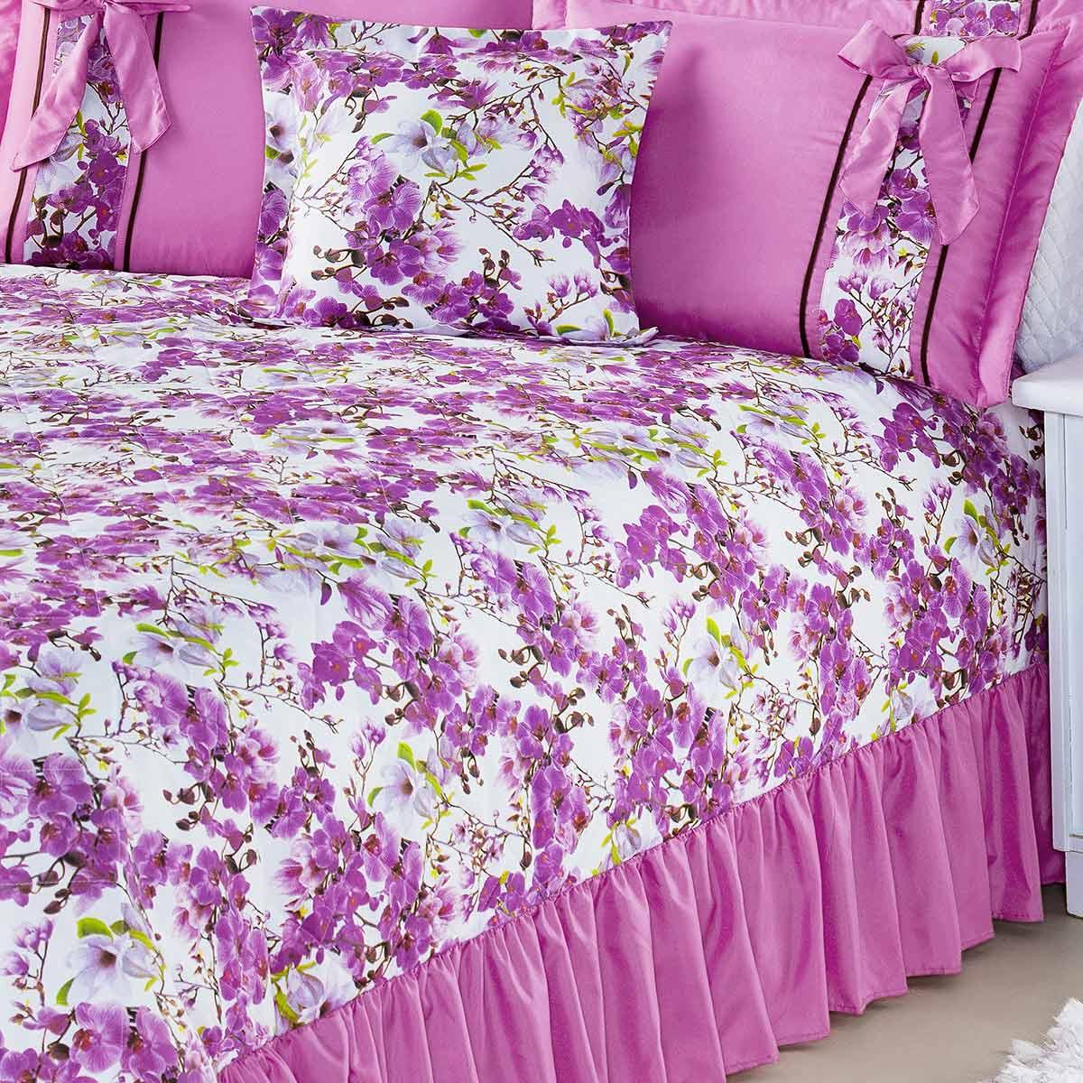Kit Cobre Leito (Cobre Leito + Porta Travesseiro) Casal Claudia Pink Flores Rosas com 7 peças