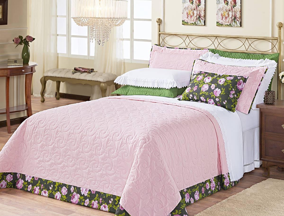 Kit Cobre Leito (Cobre Leito + Porta Travesseiro + Jogo de Lençol) Queen San Marino Rosa Bordado com 11 peças
