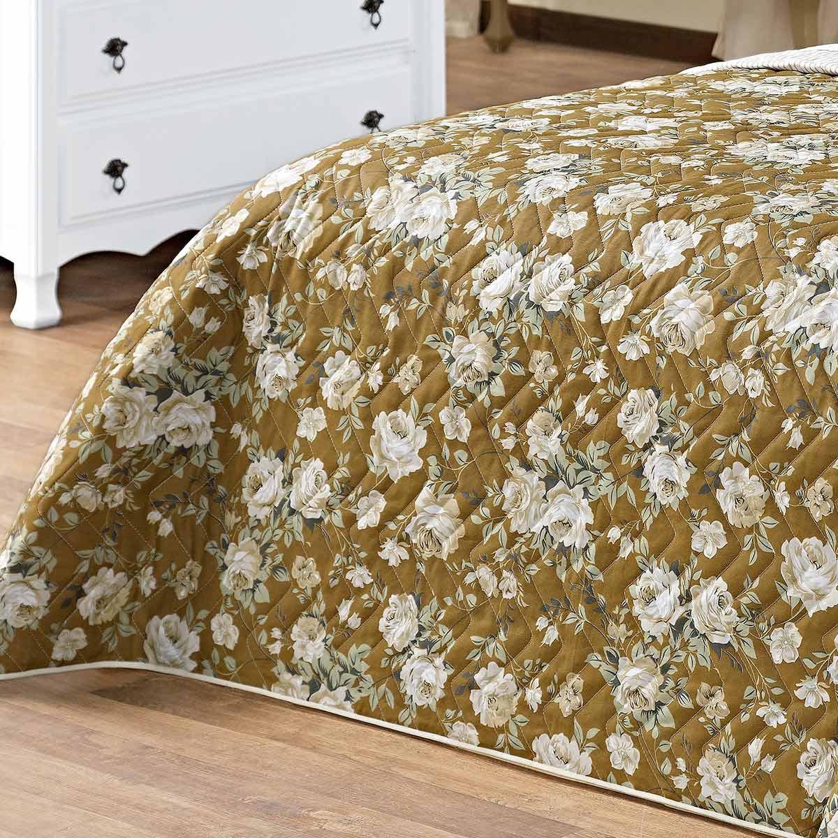 Kit Cobre Leito (Cobre Leito + Porta Travesseiro + Jogo de Lençol) Queen Siena Caqui Floral Caqui Floral com 9 peças