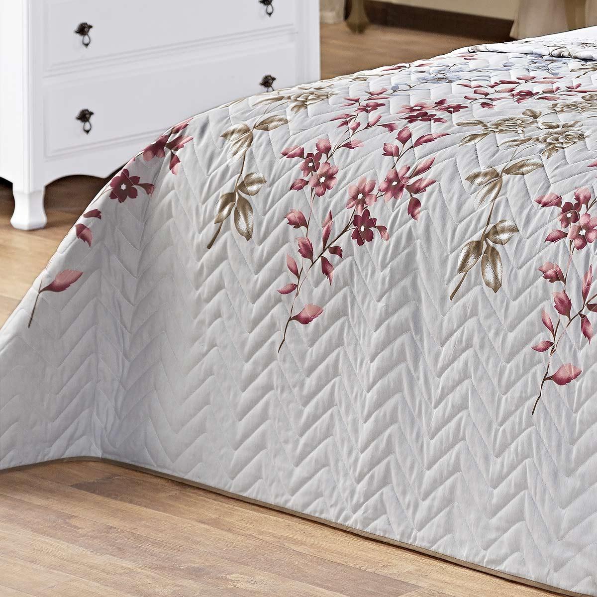Kit Cobre Leito (Cobre Leito + Porta Travesseiro + Jogo de Lençol) Queen Siena Cinza Floral Cinza Floral com 9 peças