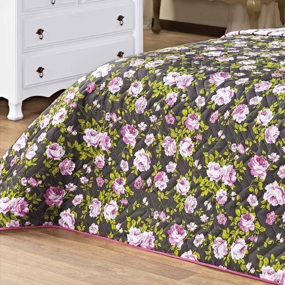 Kit Cobre Leito (Cobre Leito + Porta Travesseiro + Jogo de Lençol) Queen Siena Rosa Floral Rosa Floral com 9 peças