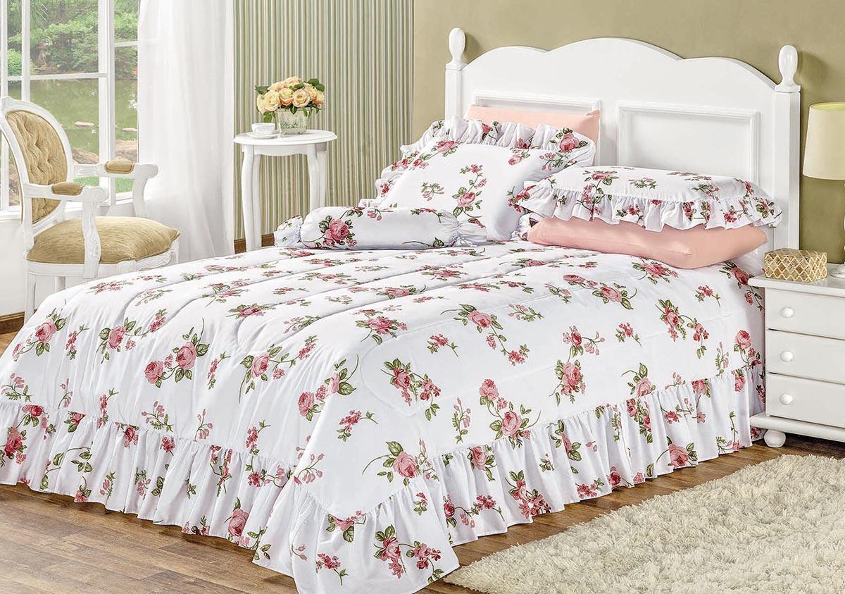 Kit Cobre Leito / Colcha + Fronha Adicional Ambivere King Floral Rosas com 7 peças