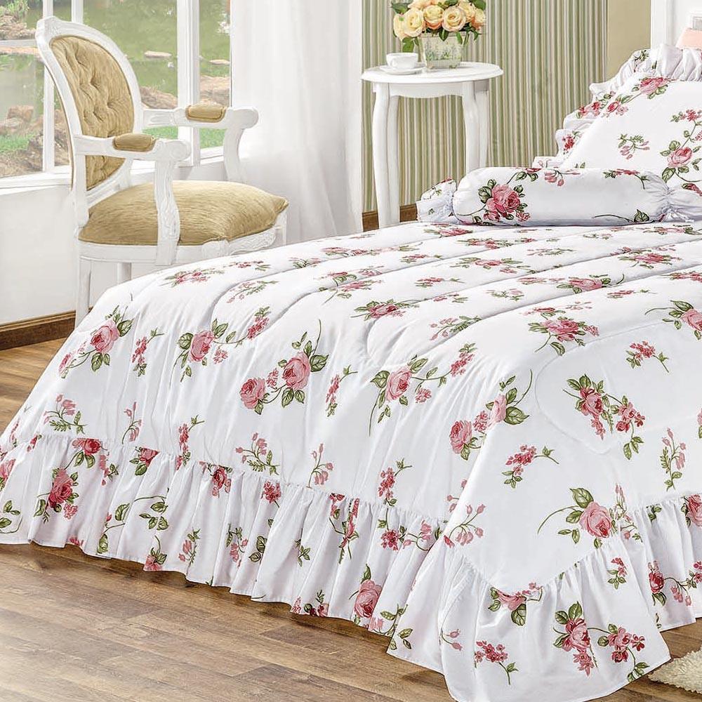 Kit Cobre Leito / Colcha + Fronha Adicional Ambivere Queen Floral Rosas com 7 peças