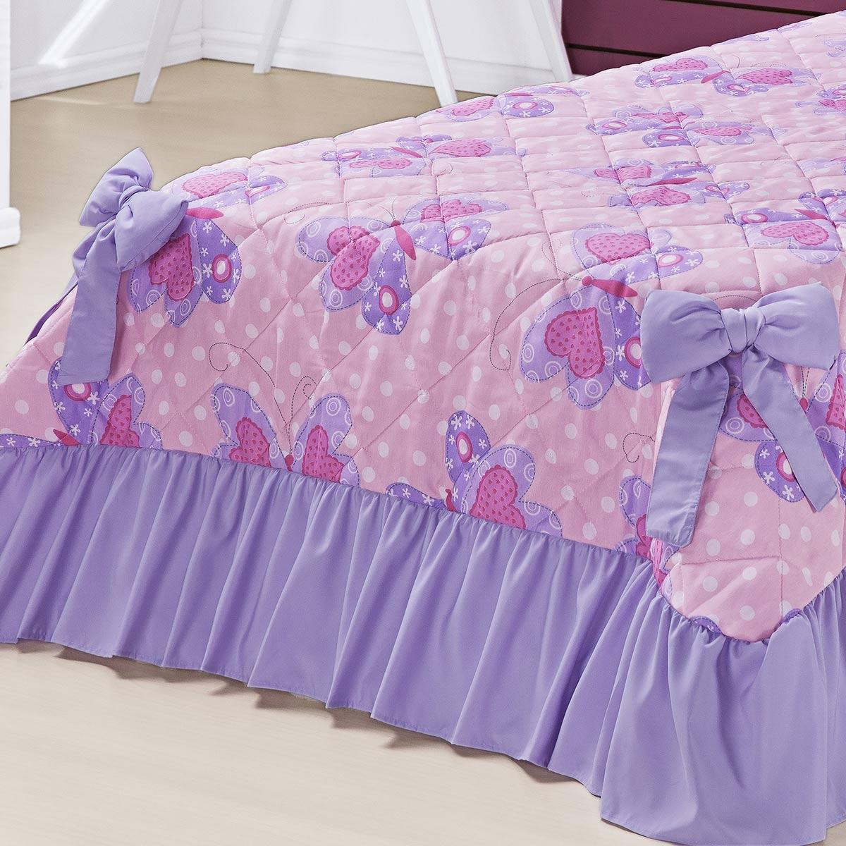 Kit Cobre Leito Meninas (Cobre Leito + Porta Travesseiro) Solteiro Laila Borboletas Rosa Estampa Borboletas com 6 peças