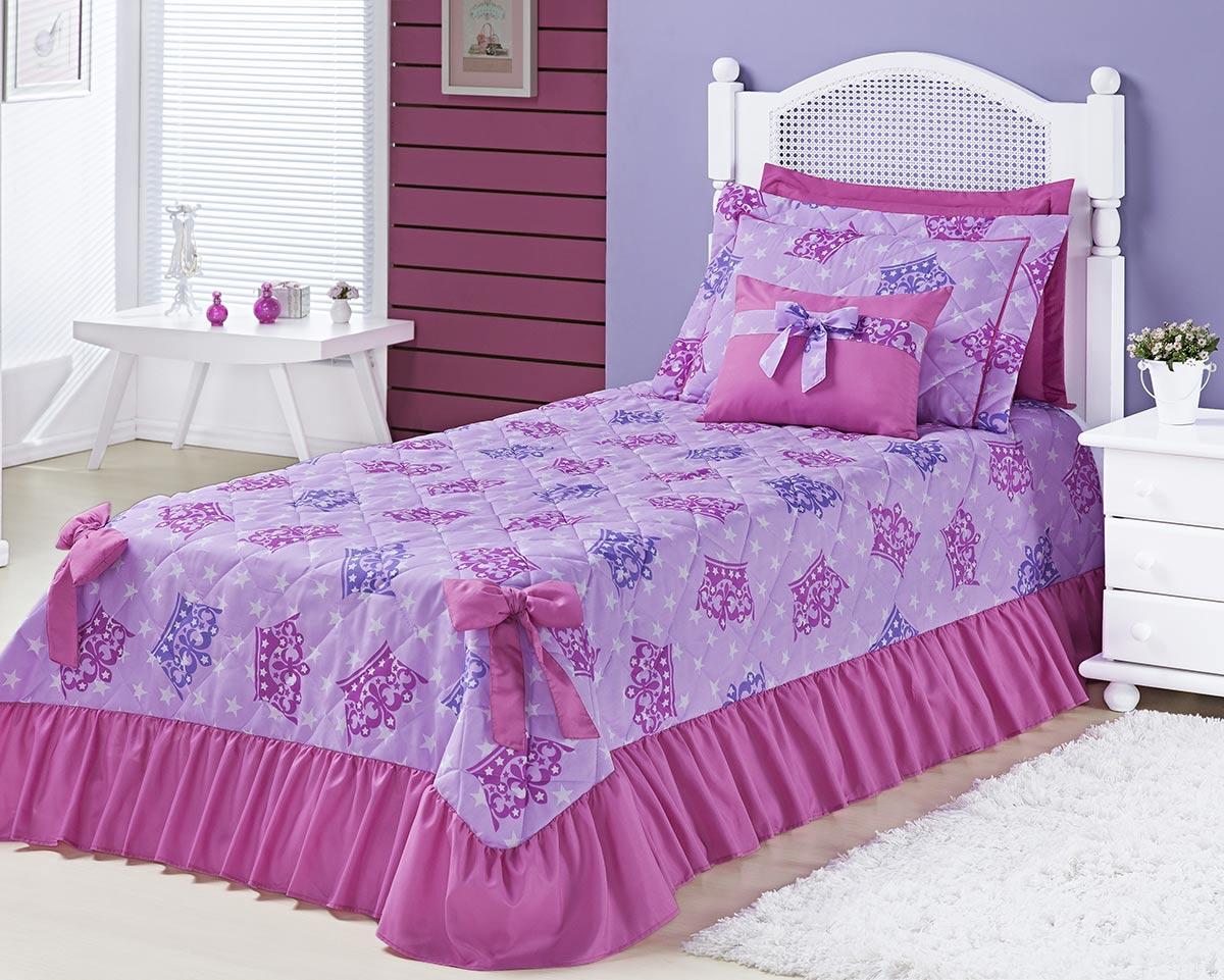 Kit Cobre Leito Meninas (Cobre Leito + Porta Travesseiro) Solteiro Laila Coroa Princesa Pink Estampa Coroa Princesa com 6 peças