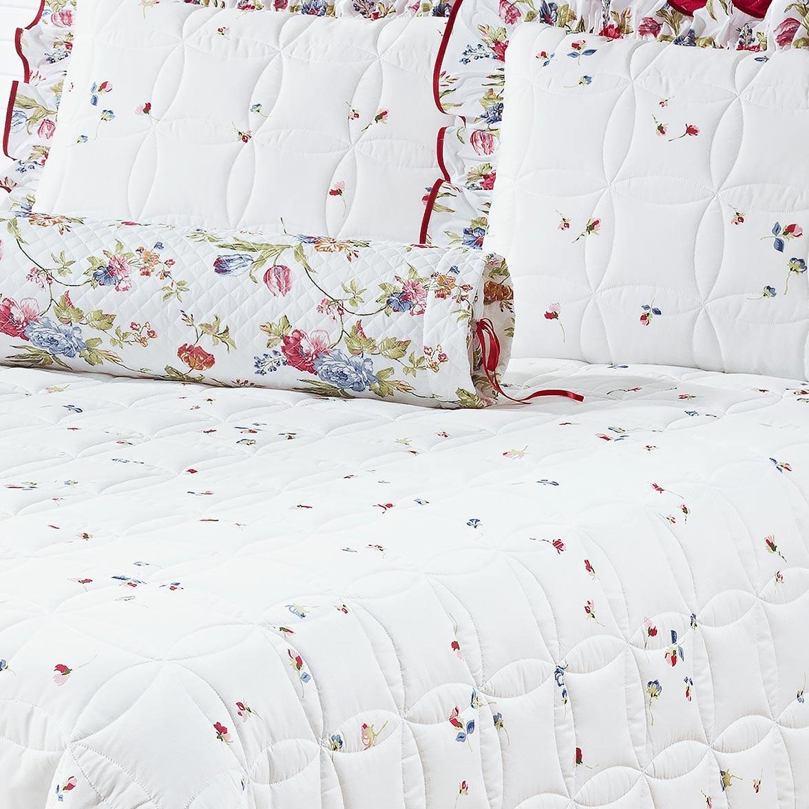 Kit Cobre Leito + Travesseiro Casal Floriza Estampado em Algodão e Poliéster com 6 peça