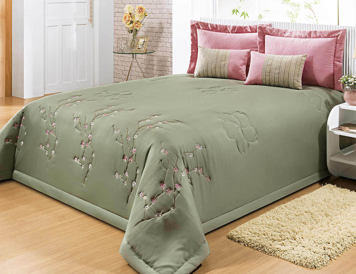 Kit Cobre Leito + Travesseiro Queen Beltrame Verde em Poliéster com 9 peça