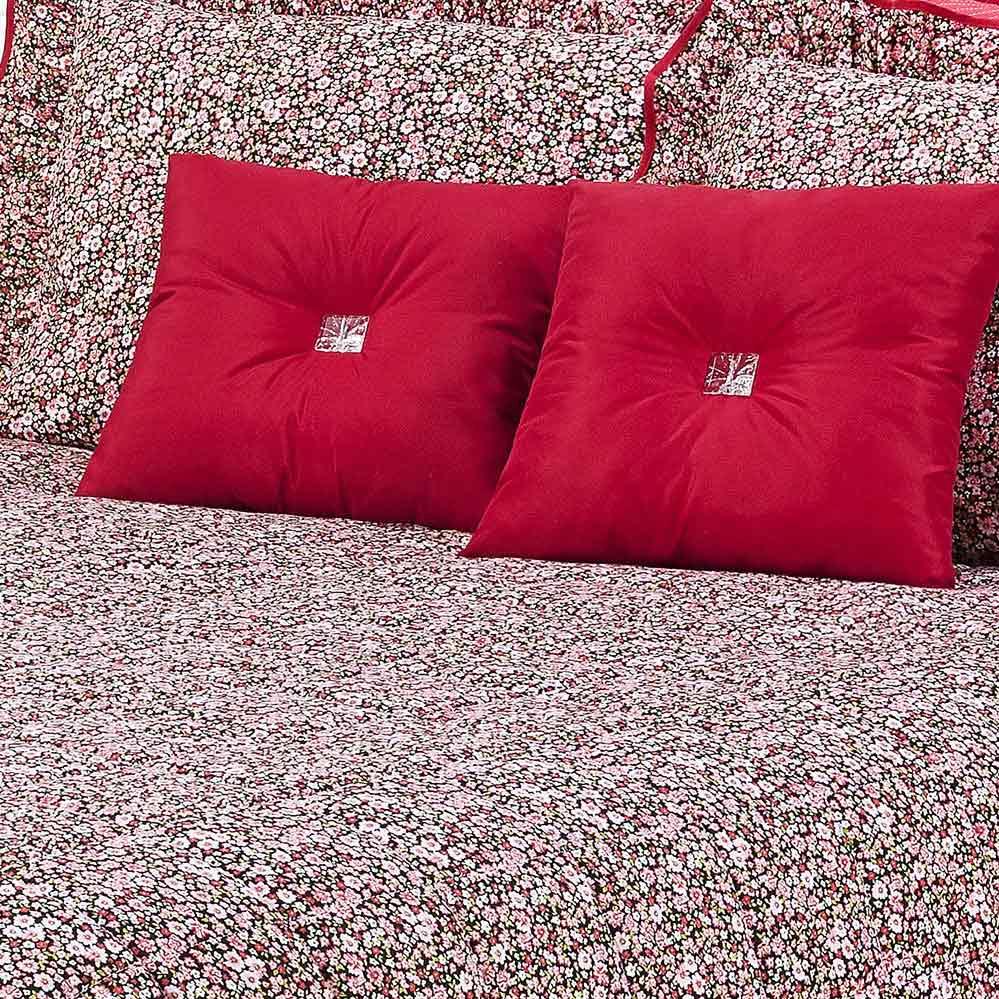 Kit Cobre Leito + Travesseiro Queen Diamante Vermelho em Algodão e Poliéster com 9 peça