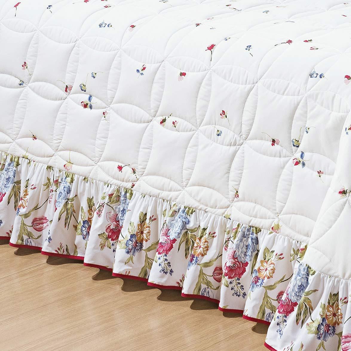 Kit Cobre Leito + Travesseiro Queen Floriza Estampado em Algodão e Poliéster com 6 peça