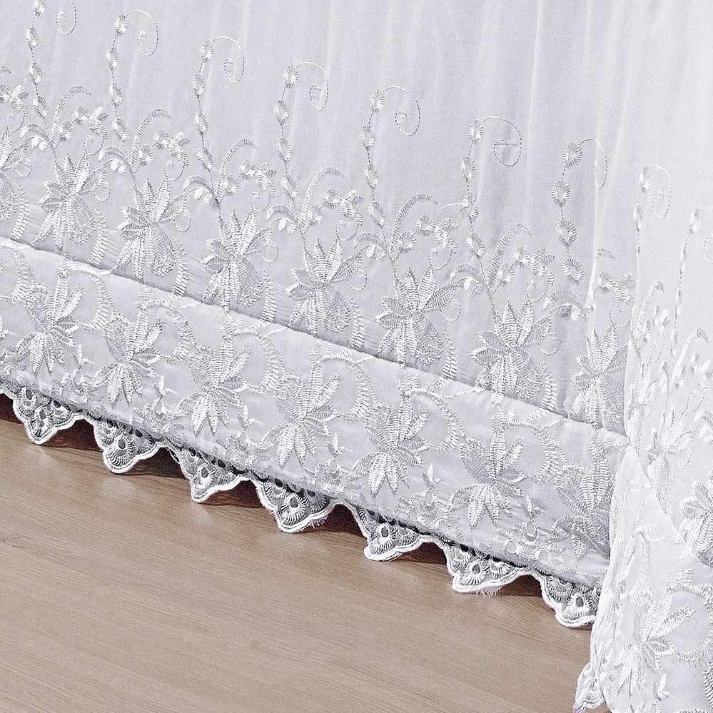 Kit Cobre Leito + Travesseiro Queen Italiano Branco em Poliéster com 5 peça
