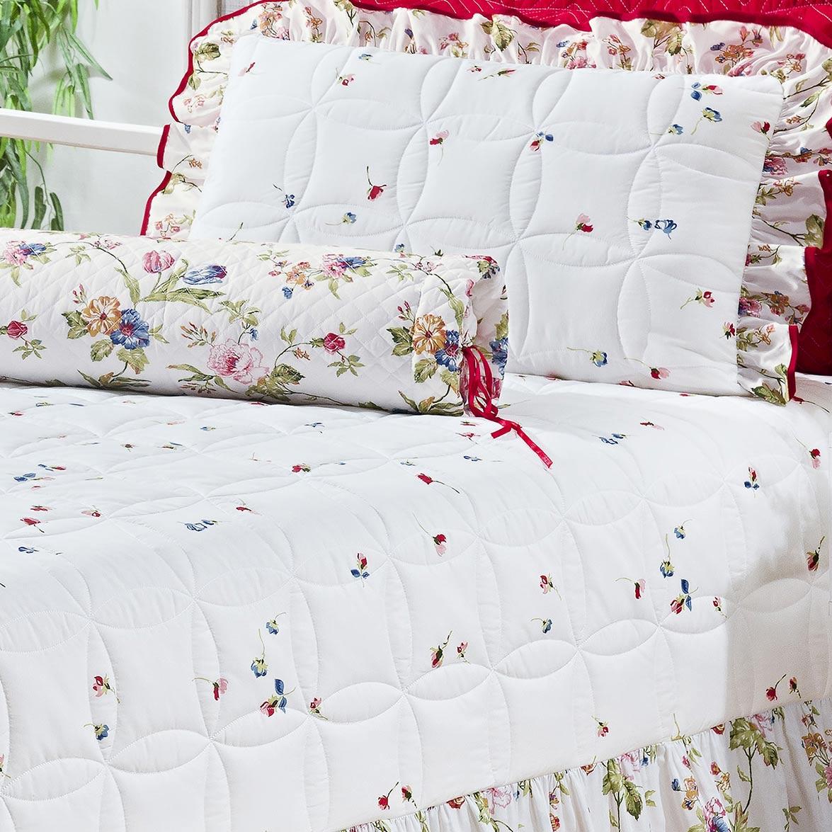 Kit Cobre leito + Travesseiro Solteiro Floriza Estampado em Algodão e Poliéster com 4 peça