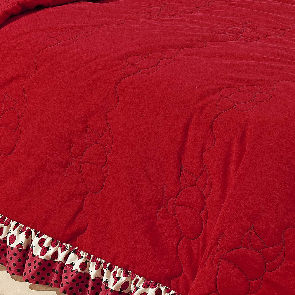 Kit Cobre leito + Travesseiro Solteiro Joaninha Vermelho em Algodão e Poliéster com 3 peça