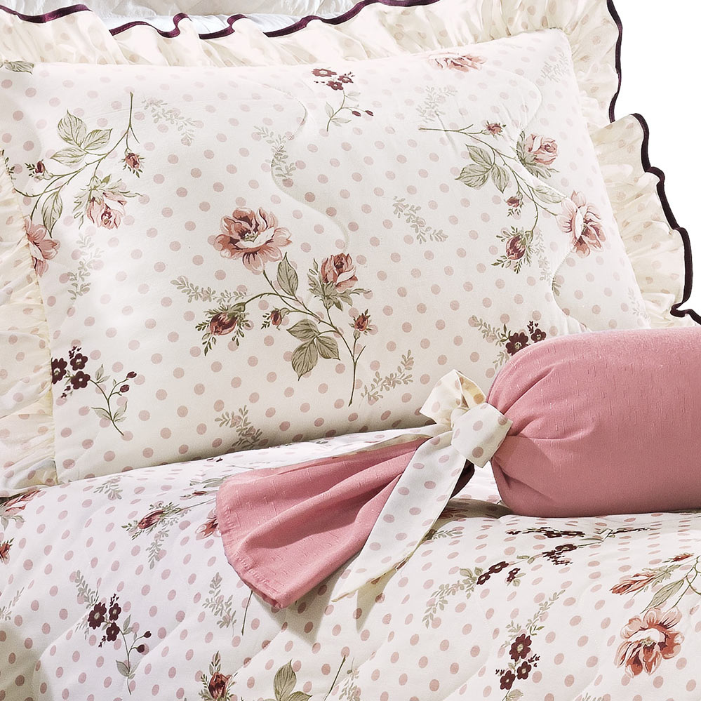 Kit Cobre leito + Travesseiro Solteiro Joyce Estampado em Algodão e Poliéster com 4 peça