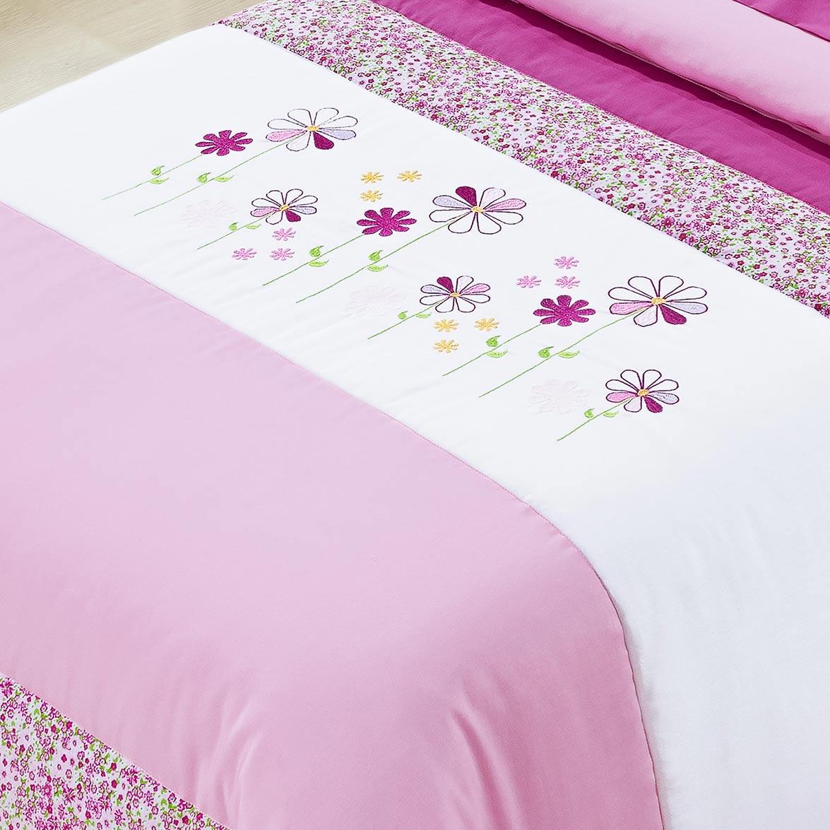 Kit Cobre leito + Travesseiro Solteiro Lilly Rosa em Algodão e Poliéster com 3 peça