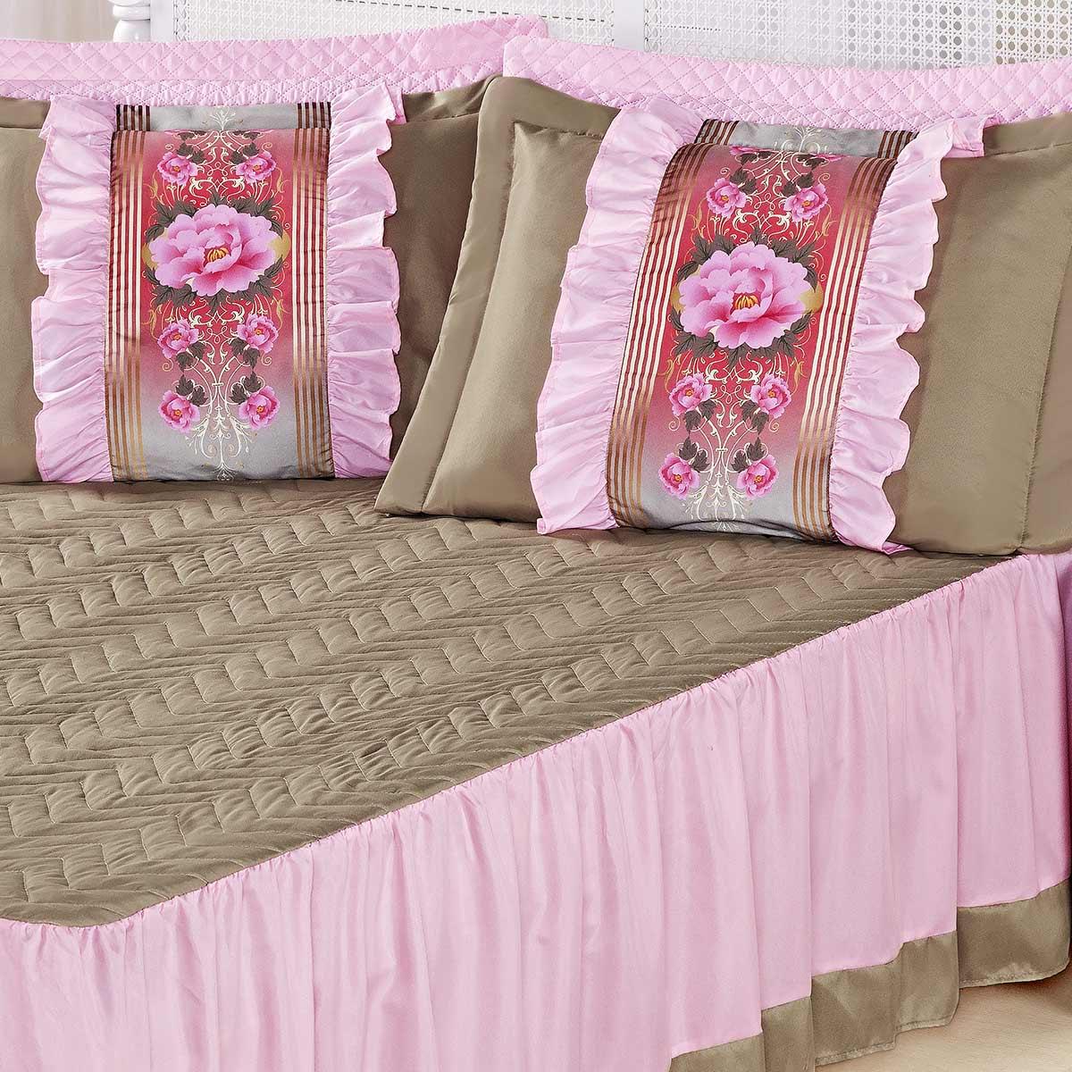 Kit Colcha (Colcha + Porta Travesseiro) Queen Bia Caqui com Rosa Liso com 5 peças