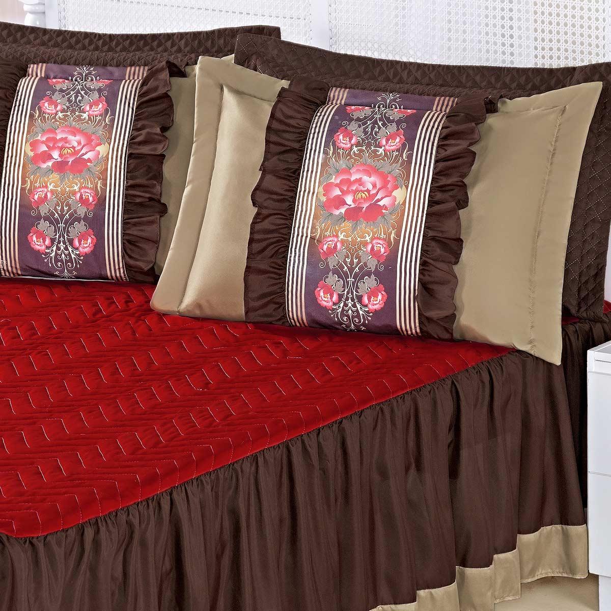 Kit Colcha (Colcha + Porta Travesseiro) Queen Bia Vermelho com Tabaco Liso com 5 peças