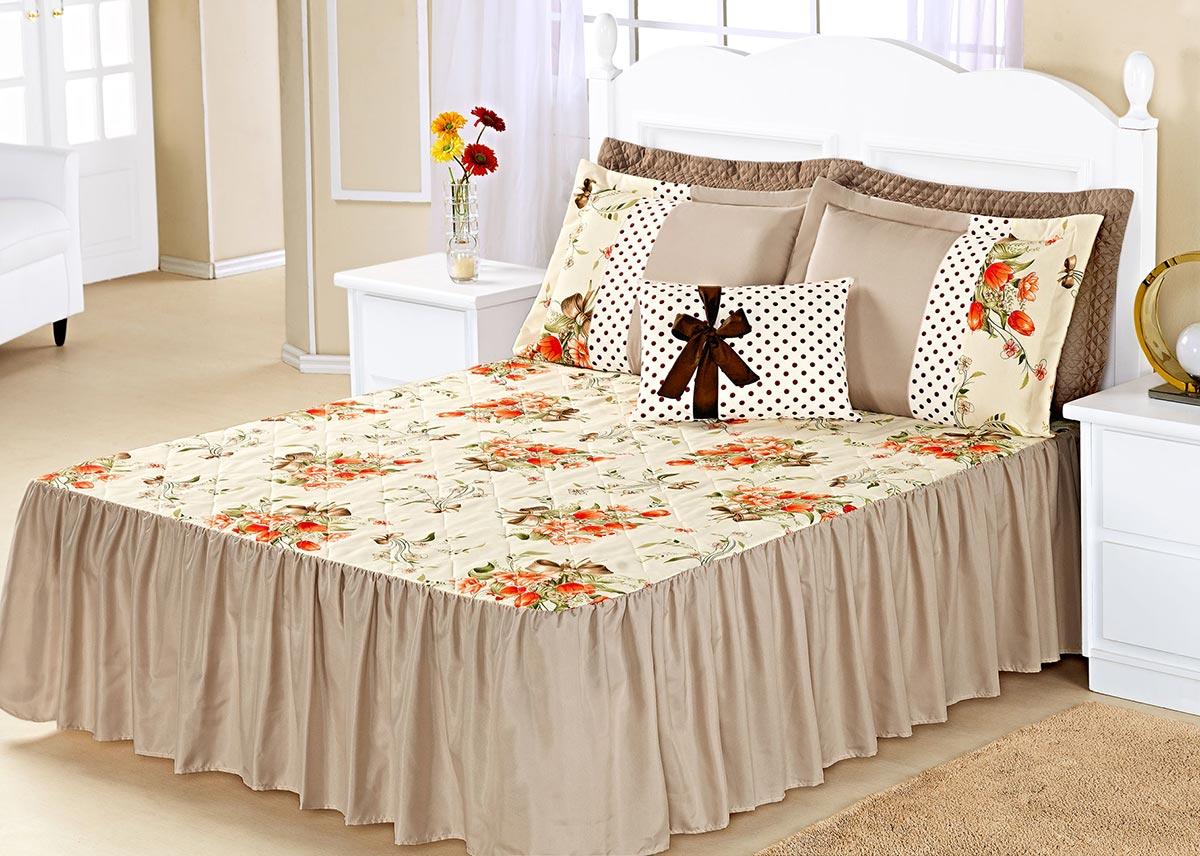 Kit Colcha (Colcha + Porta Travesseiro) Queen Geovanna Caqui Estampa Flores com 7 peças