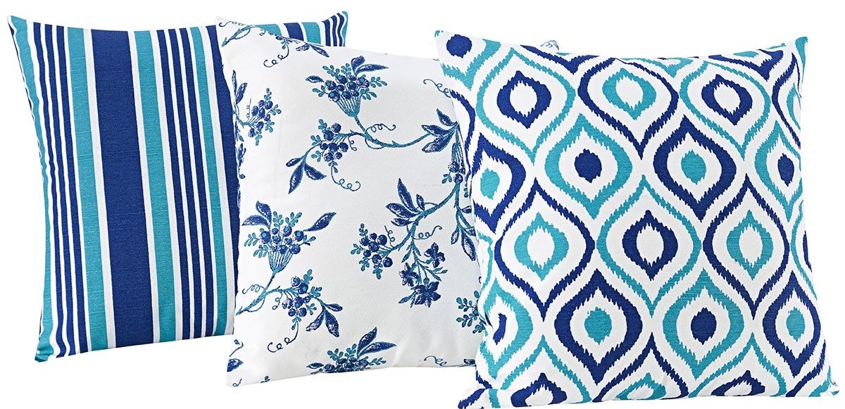 Kit de Almofadas 40cm x 40cm Trio Azul Estampado com 3 peças