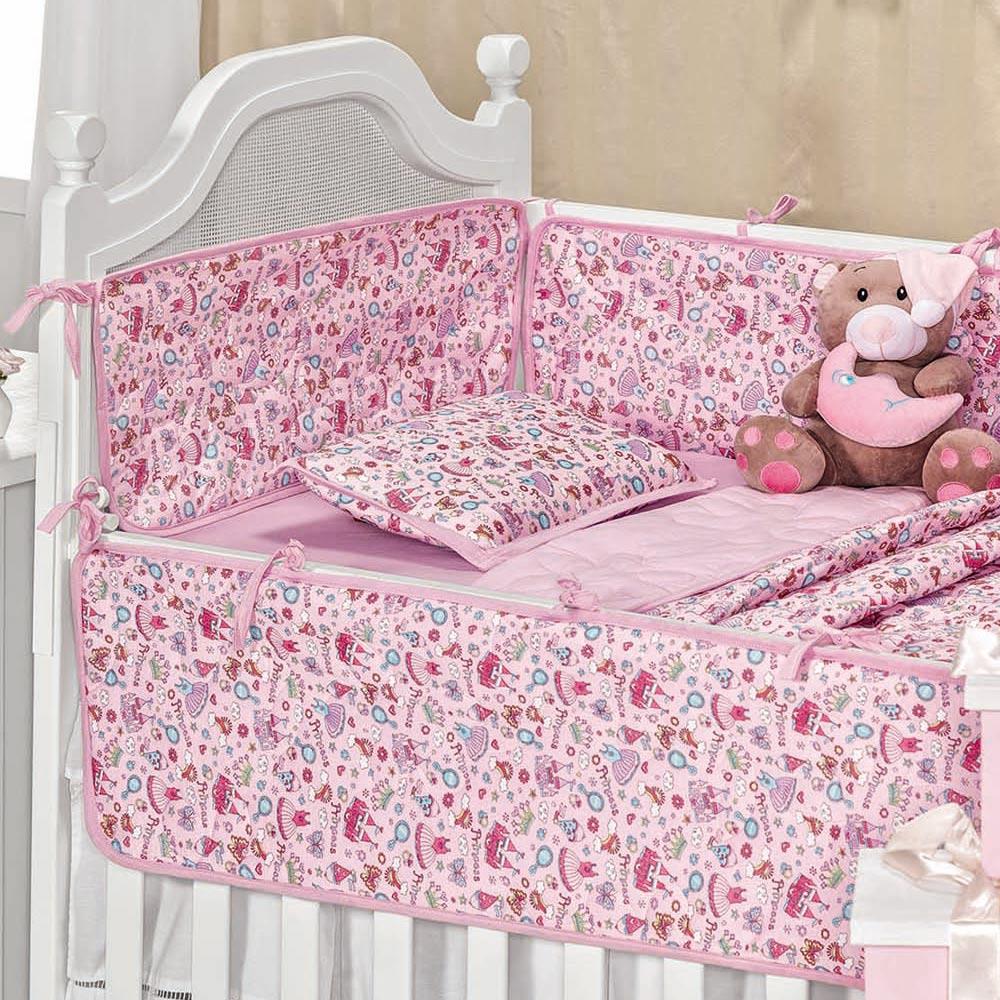 Kit de Berço para Bebê Monclássico Bebe Castelinho de Princesa com 6 peças
