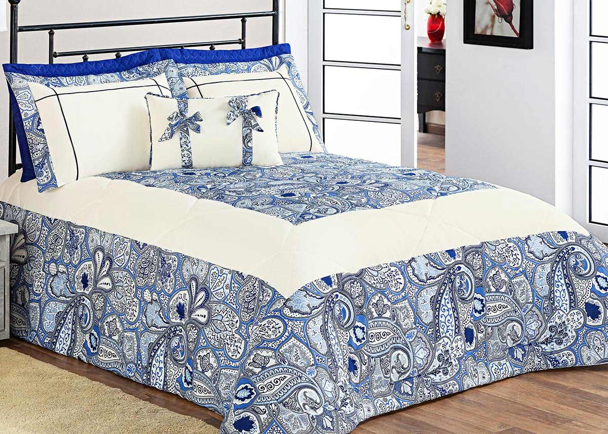 Kit Edredom Donatella Queen Azul Estampa Especial com 5 peças