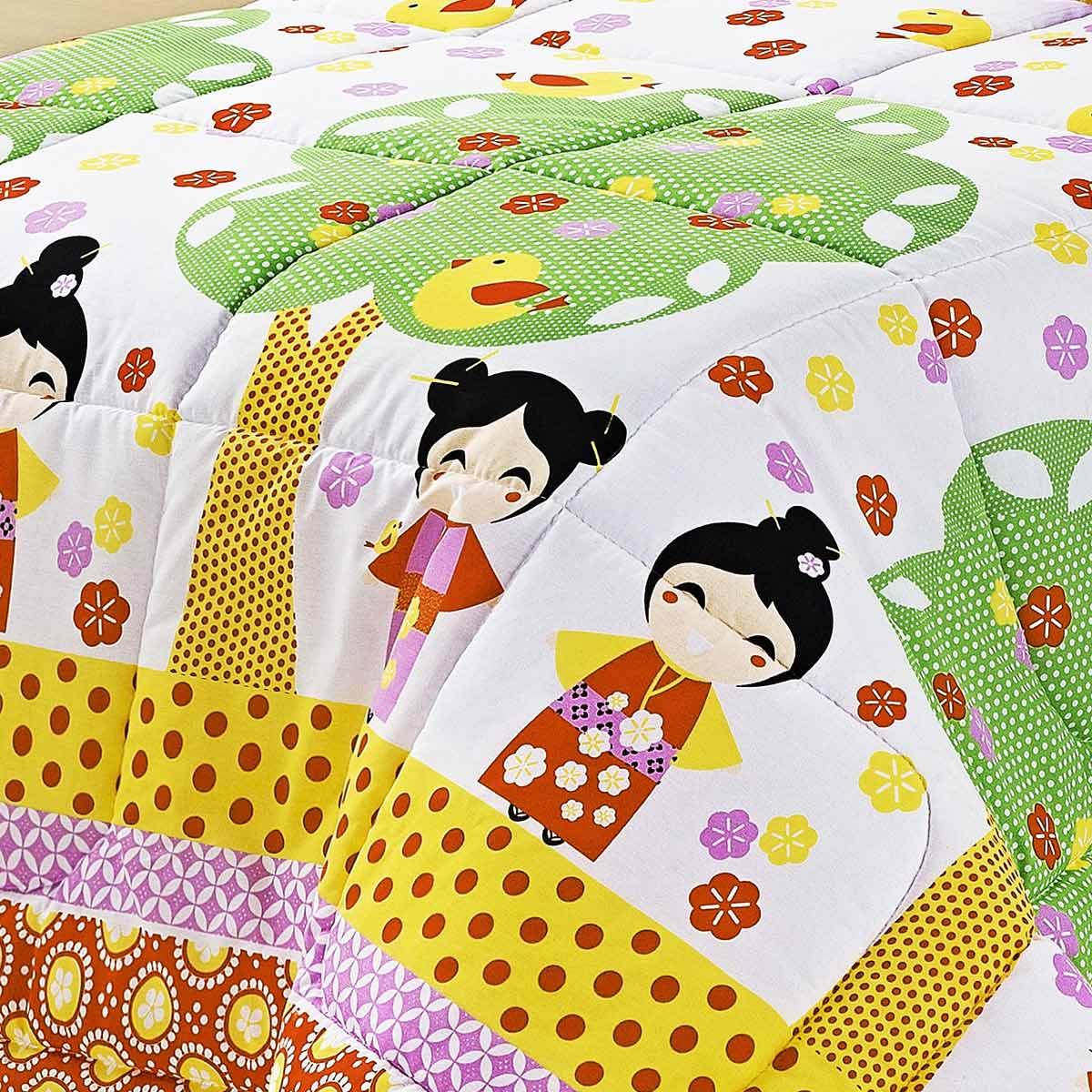 Kit Edredom (Edredom + Jogo de Lençol) Solteiro Kokeshi Japonesa Colorido Estampado com 5 peças