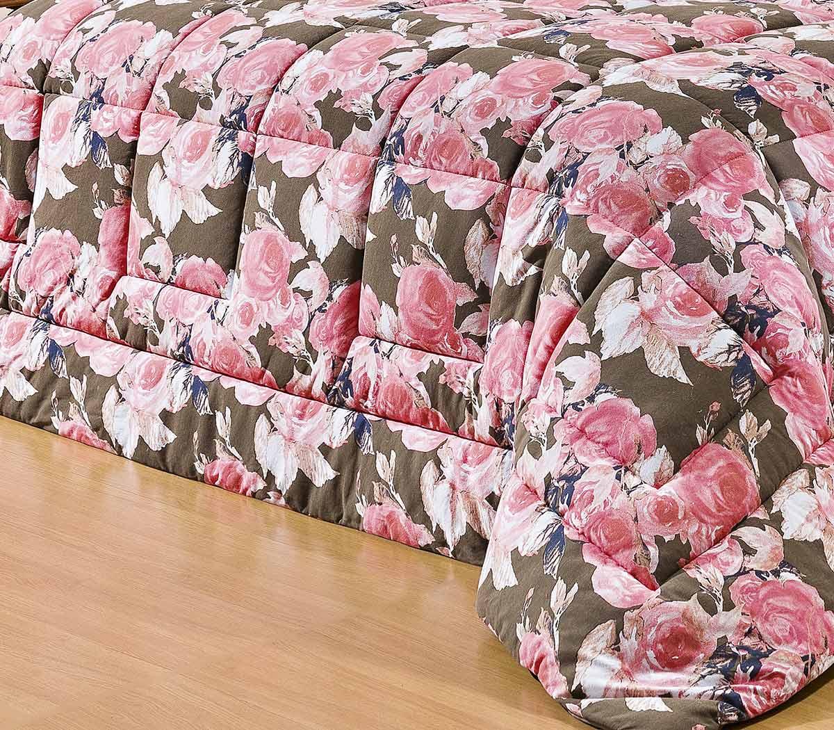 Kit Edredom (Edredom + Porta Travesseiro + Jogo de Lençol) Queen Coleção Safari Malha Penteada 30/1 Florida com 7 peças