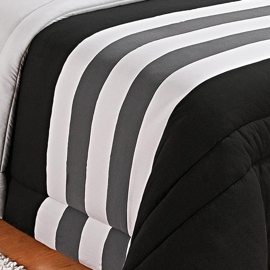 Kit Edredom (Edredom + Porta Travesseiro) Solteiro Coleção Viena Malha Penteada 30/1 Lisa c/ Detalhes com 5 peças