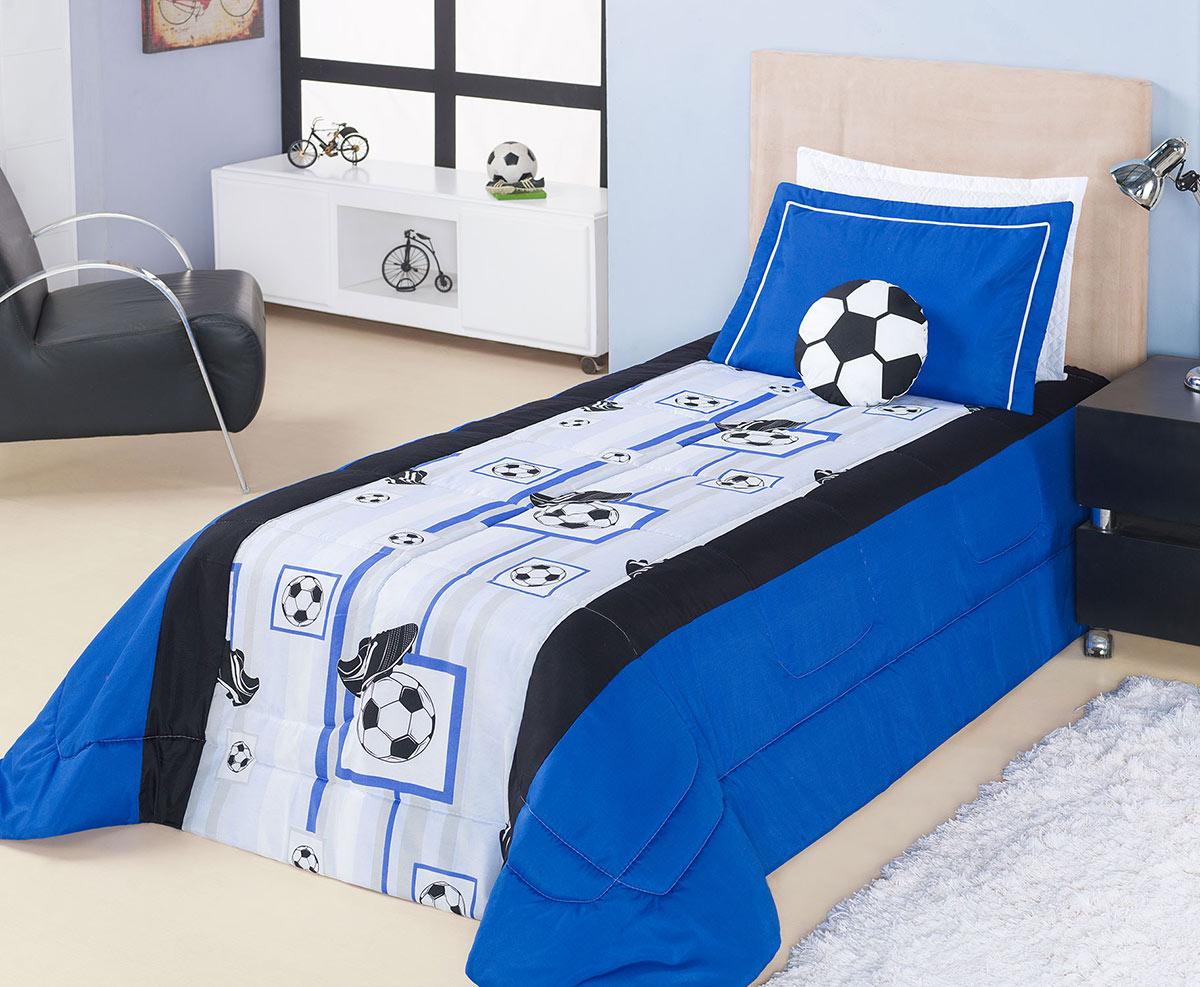 Kit Edredom (Edredom + Porta Travesseiro) Solteiro Futebol Soccer Azul Estampa Bolas de Futebol e Chuteiras com 4 peças