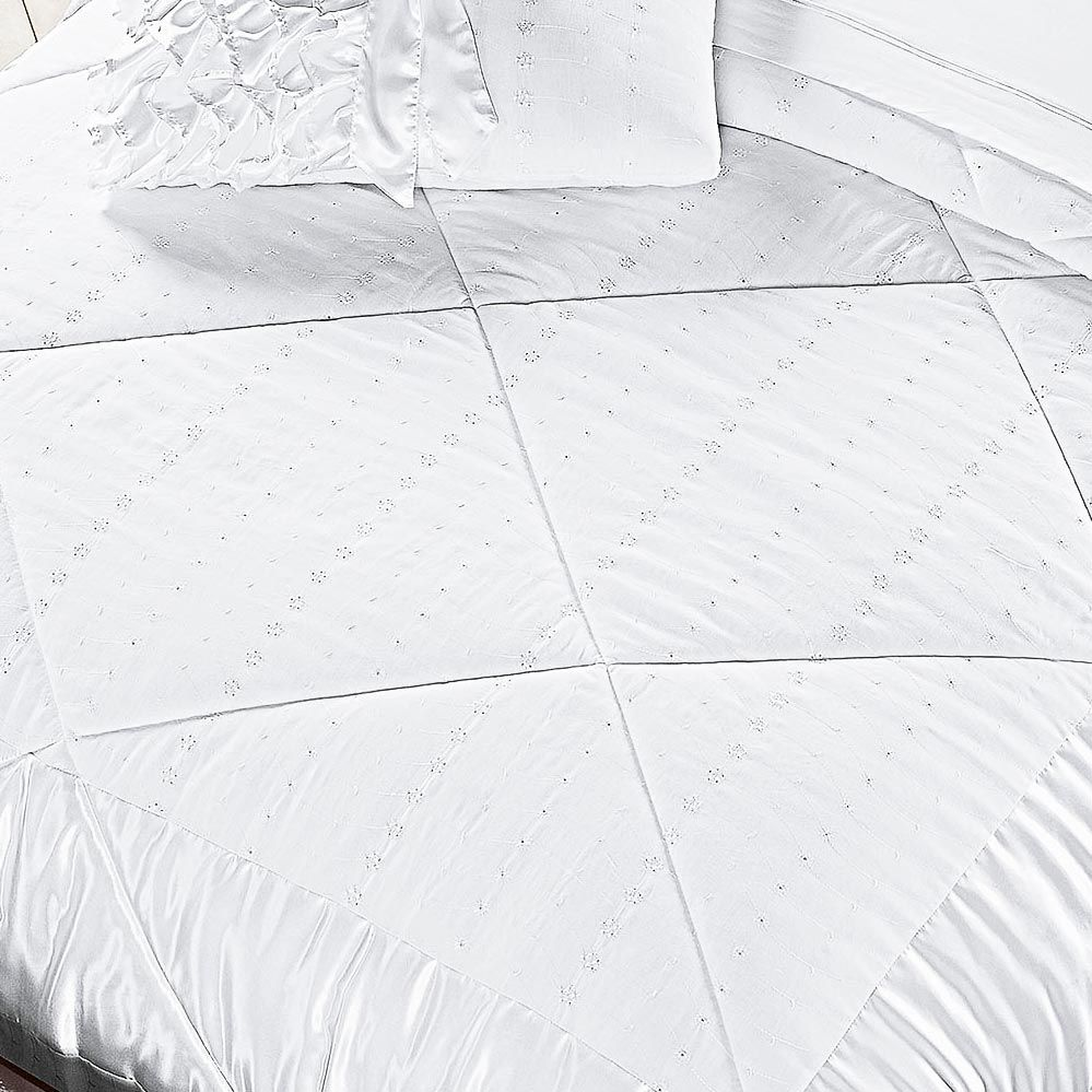 Kit Edredom Enlace Queen Branco Bordado Exclusivo com 5 peças