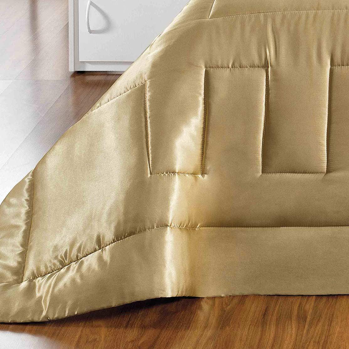 Kit Edredom King Coleção Sublime Dourado com 7 peças