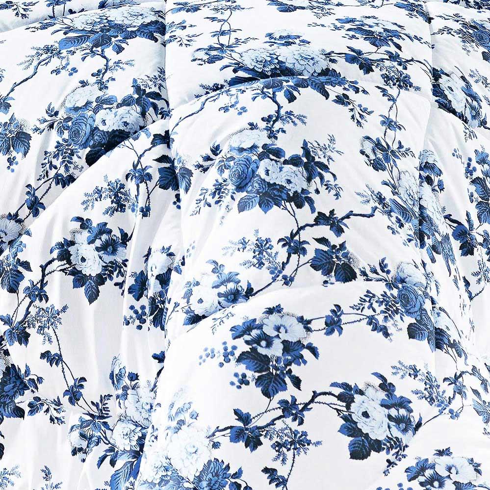 Kit Edredom Murano King Azul Floral com 3 peças