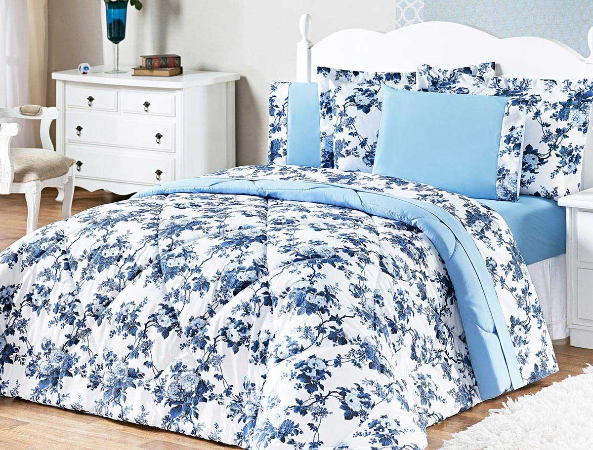 Kit Edredom Murano Queen Azul Floral com 3 peças