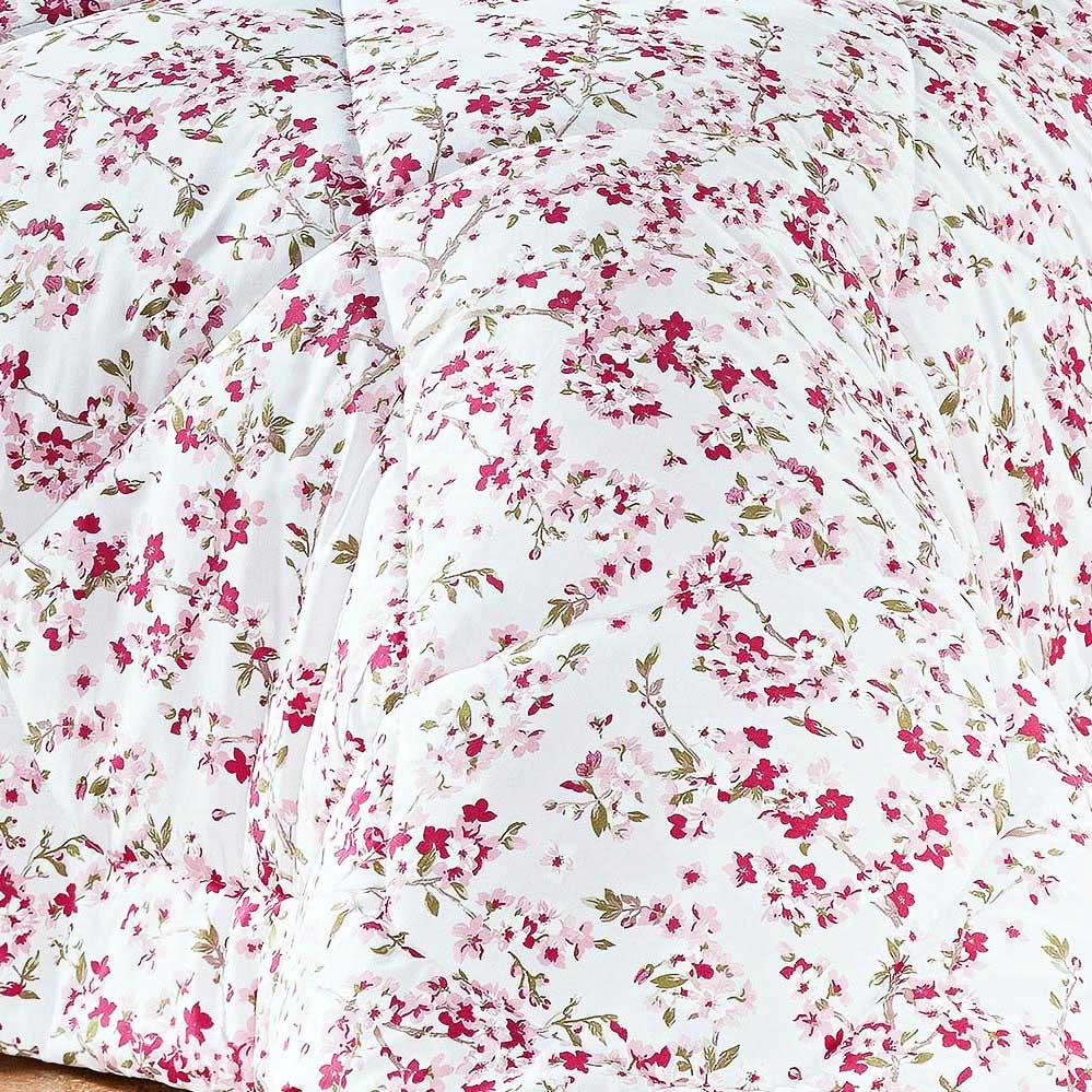 Kit Edredom Murano Queen Salmão Floral com 3 peças
