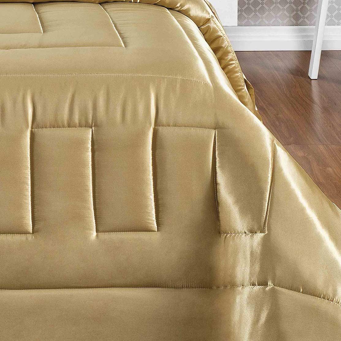 Kit Edredom Queen Coleção Sublime Dourado com 7 peças