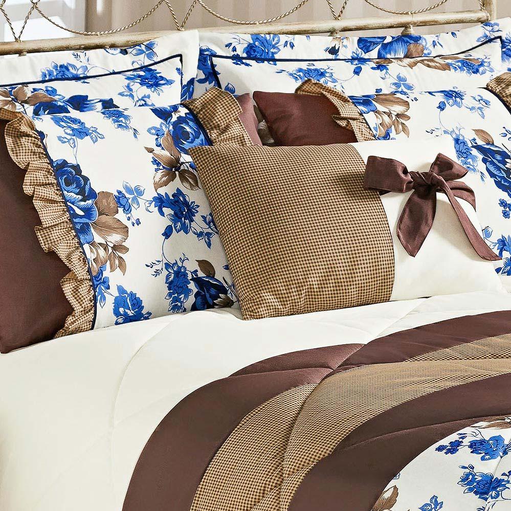 Kit Edredom Vitoria King Azul Floral com 7 peças
