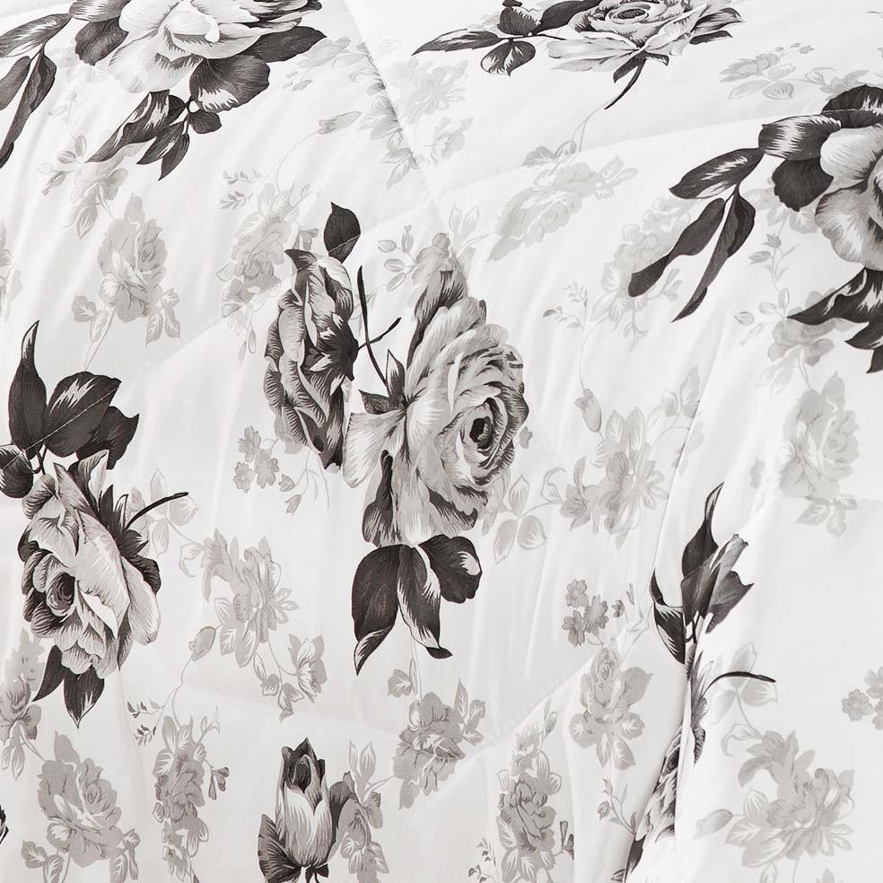 Kit Edredom Vitoria King Branco e Preto com Porta Travesseiro Floral com 7 peças