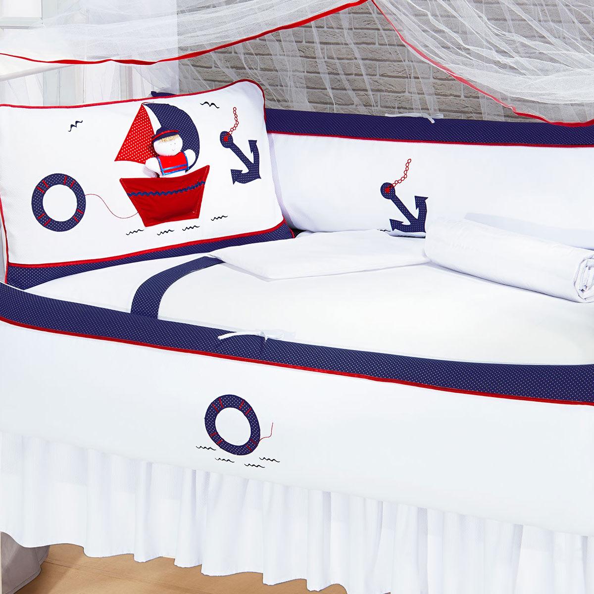 Kit Enxoval / Berço Bebê Alto Mar com Marinheiro Azul e Branco com 9 peças Algodão