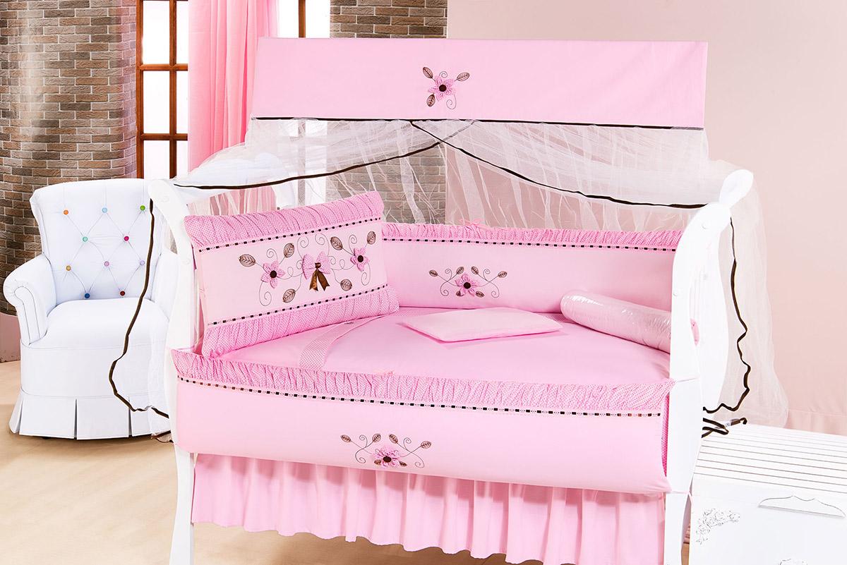 Kit Enxoval / Berço Bebê Glamour com Flores Rosa com 9 peças Algodão