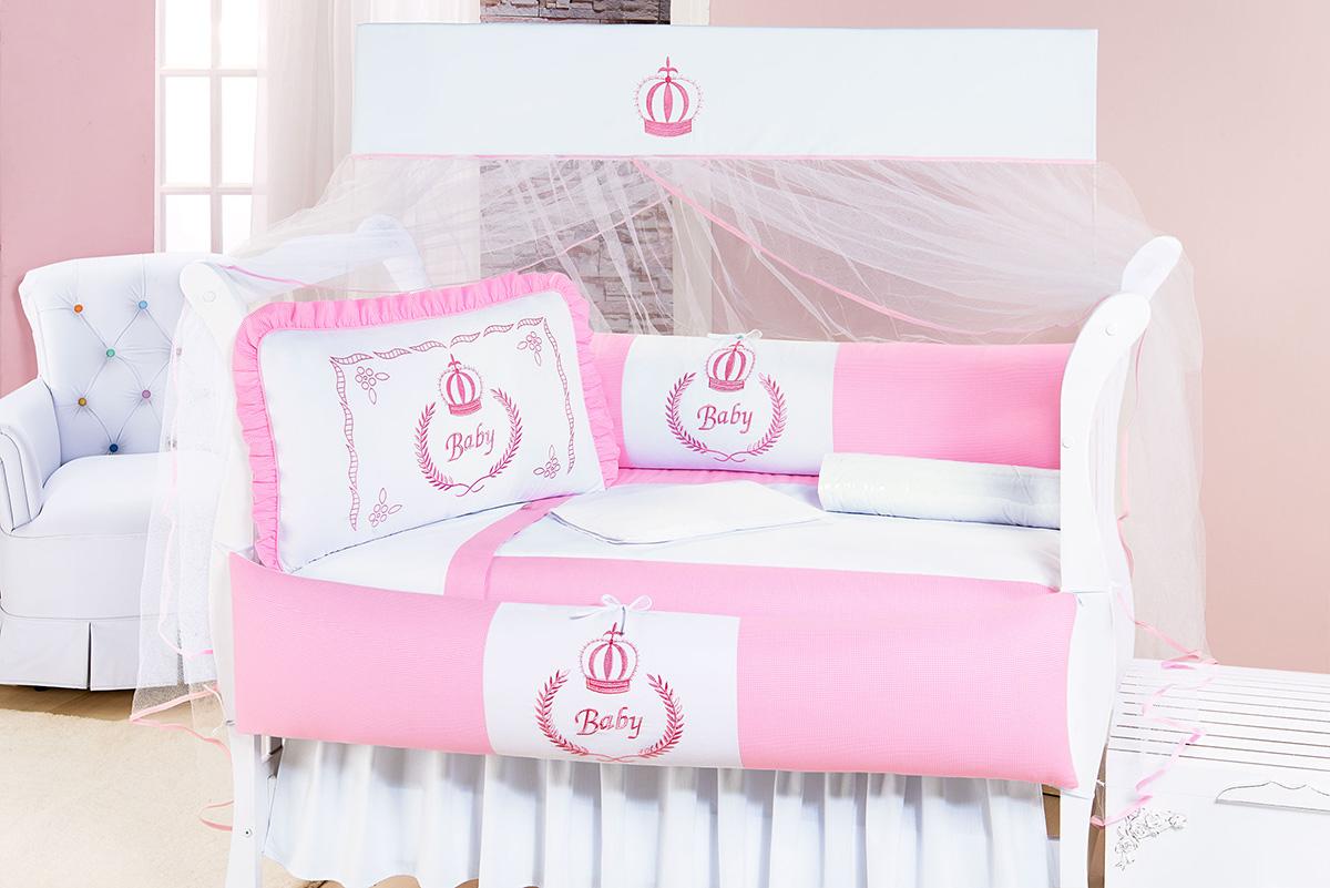 Kit Enxoval / Berço Bebê Imperial Princesa Rosa Rosa e Branco com 9 peças Algodão